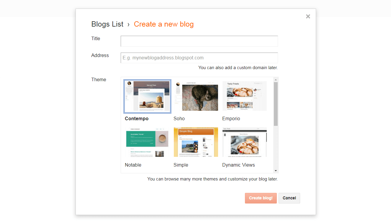 Creating a new blog with Blogger.