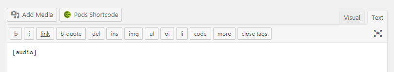 An audio shortcode in a WordPress post.
