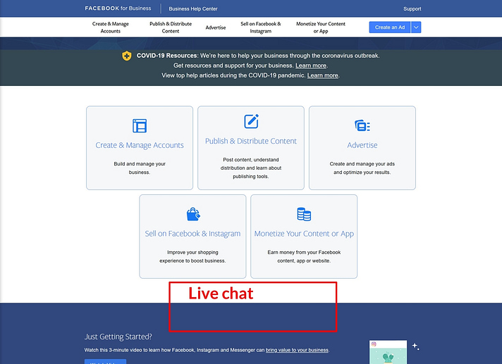 Where Facebook Ads live chat should appear
