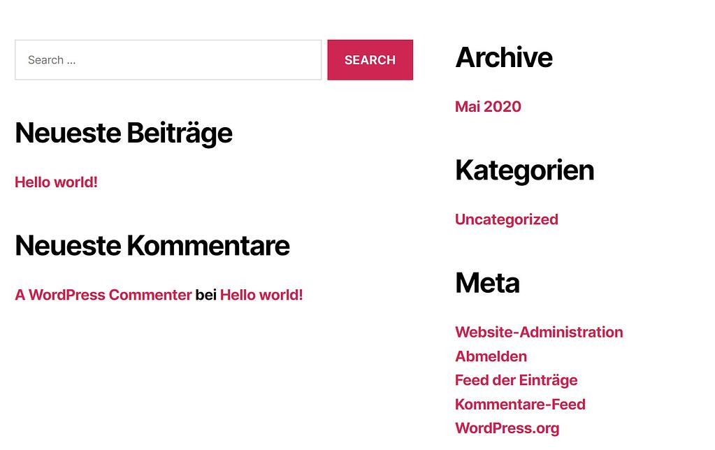 frontend of german WordPress language