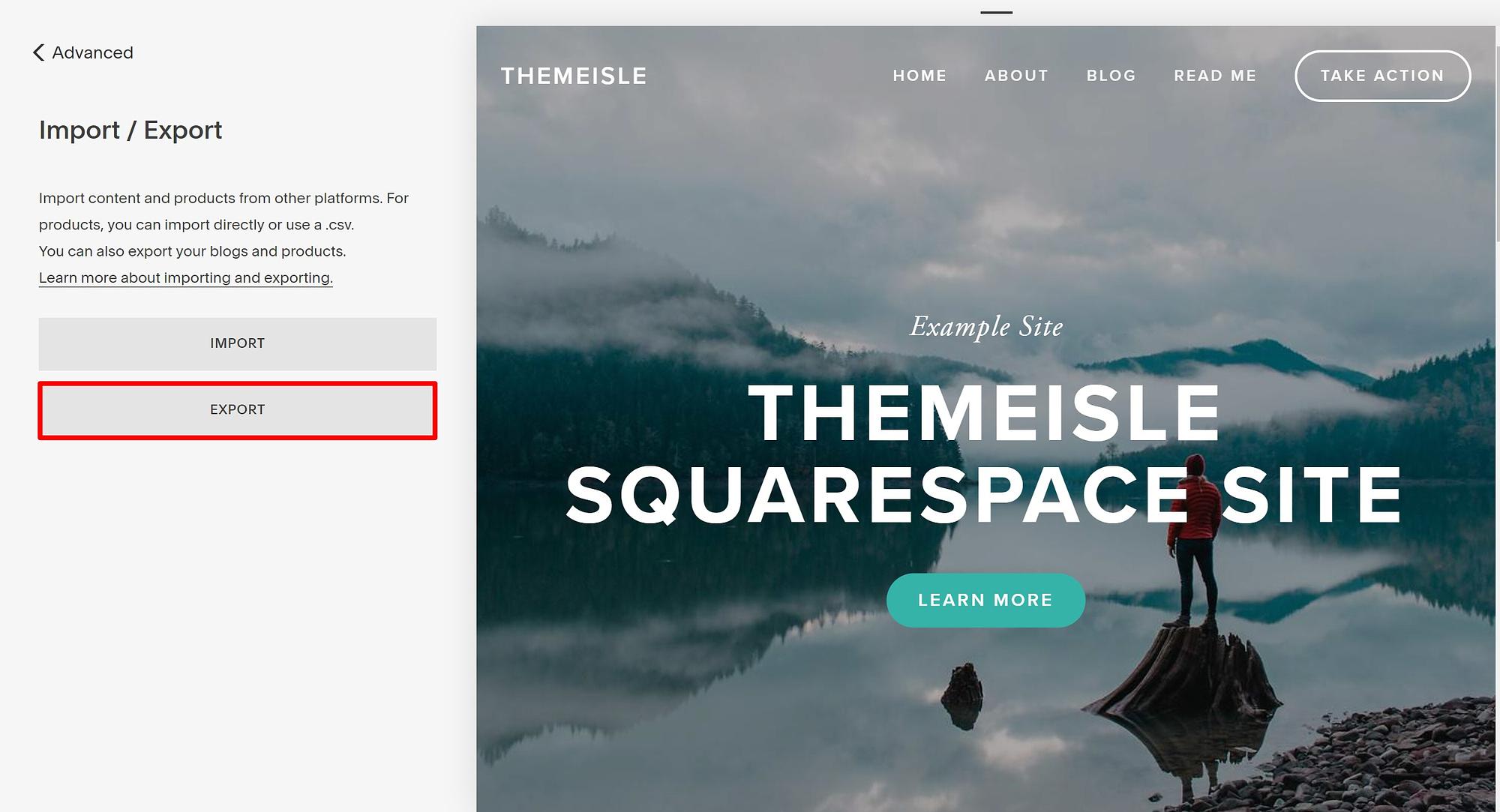 Export Squarespace content