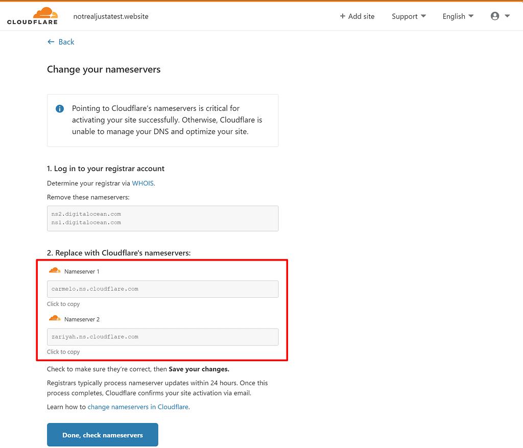 Change WordPress site nameservers to Cloudflare