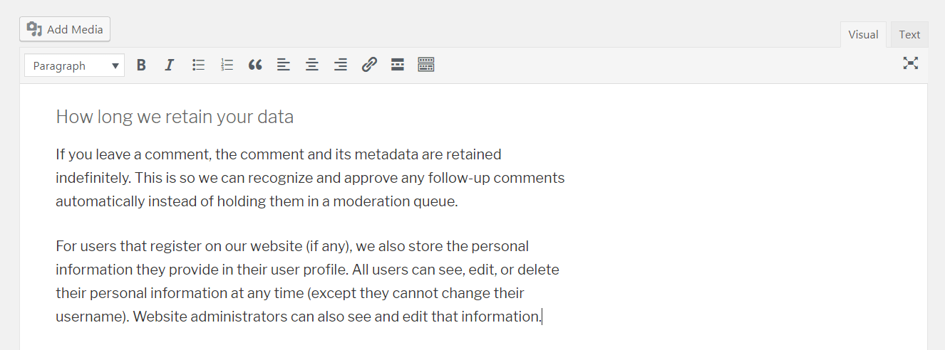 Default information in a WordPress privacy policy.