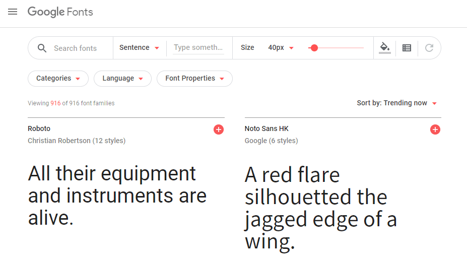 The Google Fonts homepage.