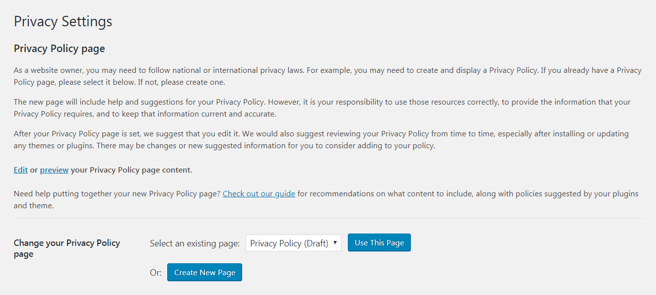 Creating a WordPress privacy policy.