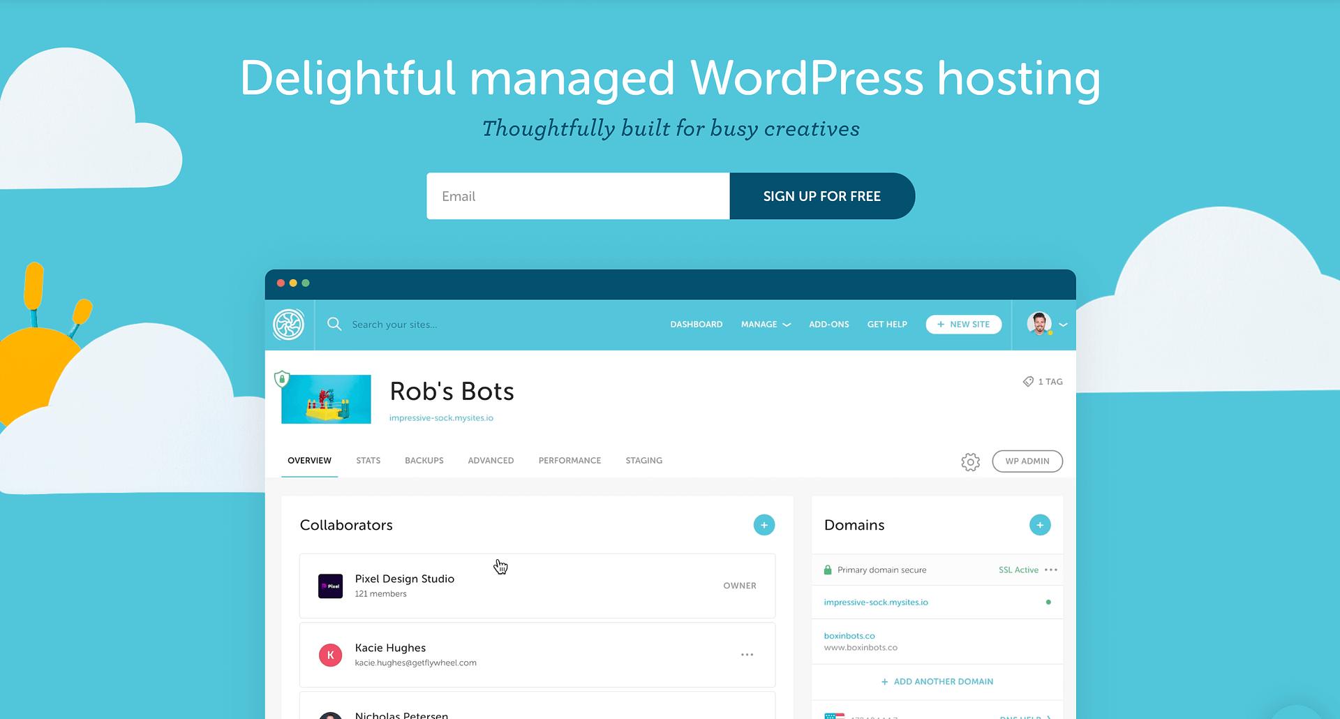 The best WordPress hosting for beginners: The Flywheel homepage.