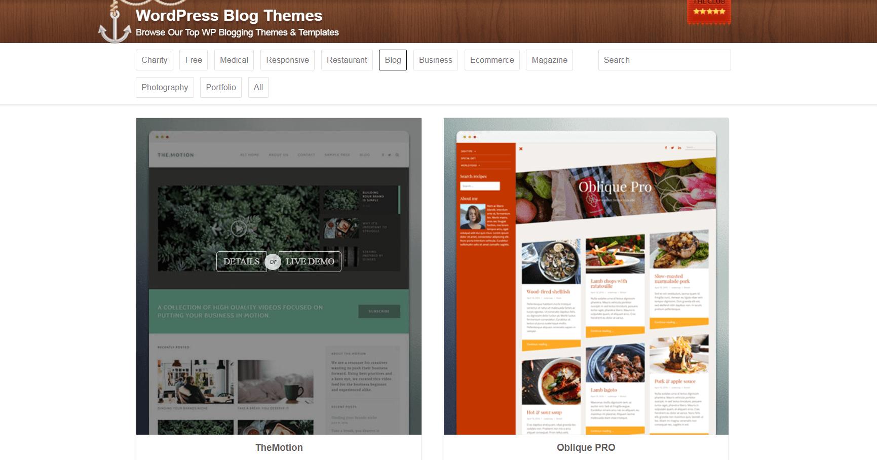 Blog themes on ThemeIsle.
