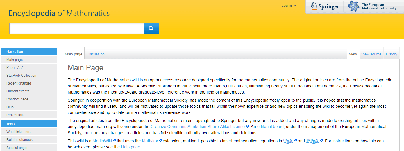 The Encyclopedia of Mathematics wiki.