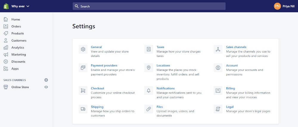 Shopify Tutorial: Settings