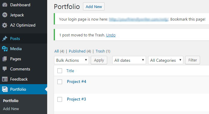 The Portfolio custom post type on the WordPress dashboard.