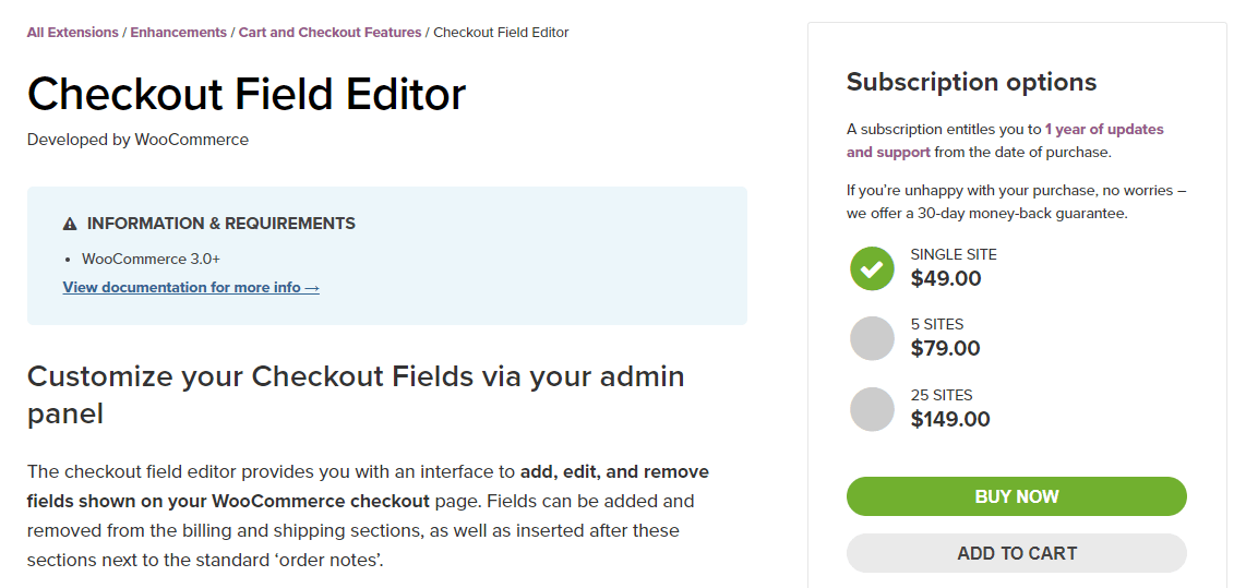 The Checkout Field Editor plugin.