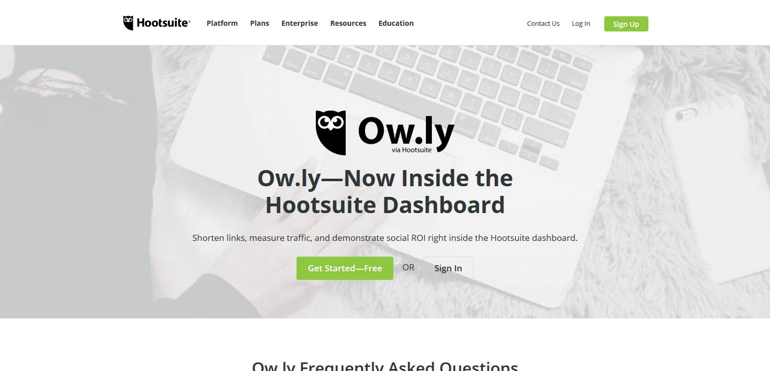 Owly is a URL shortener service that's part of Hootsuite