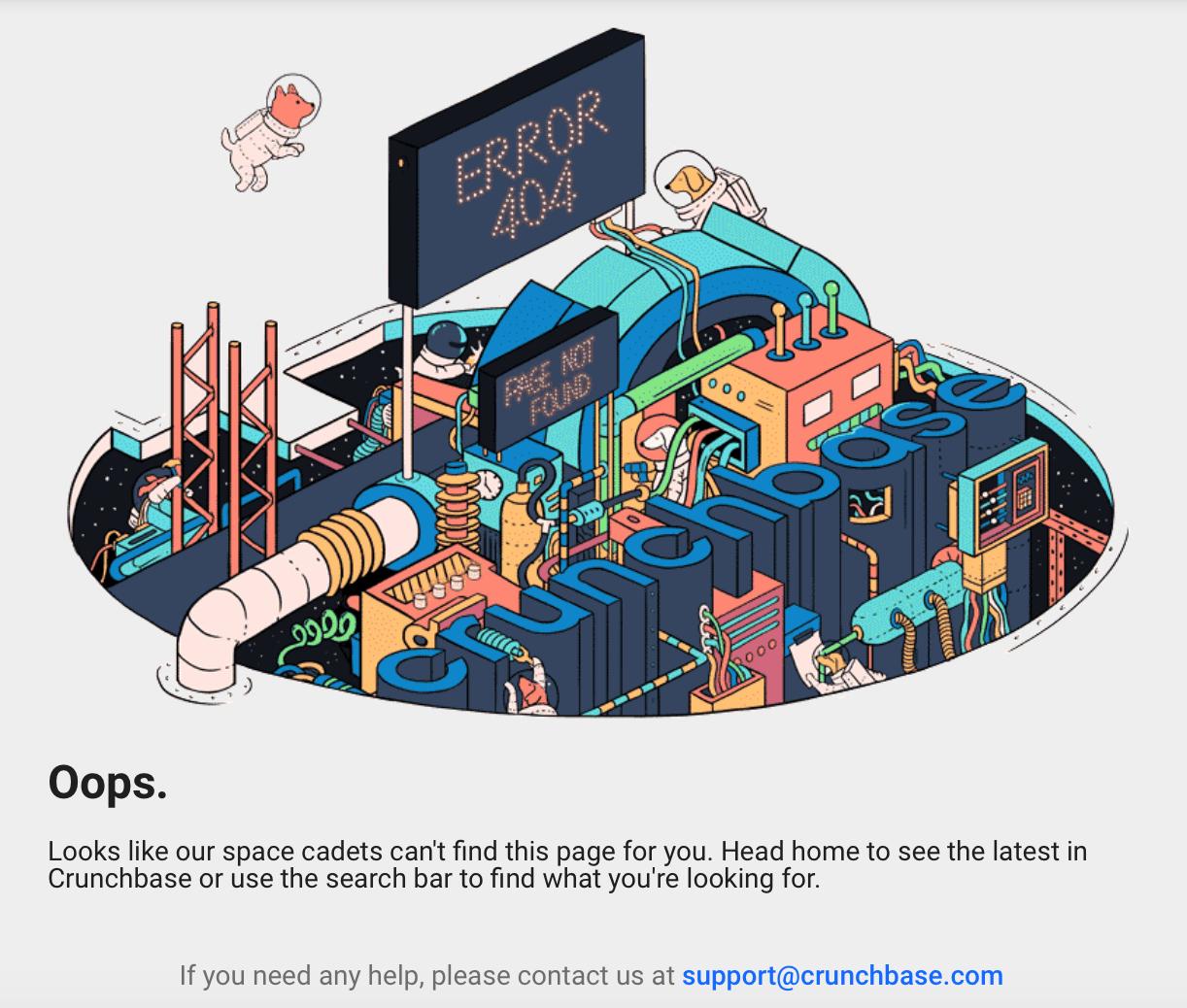 The Crunchbase 404 error page.