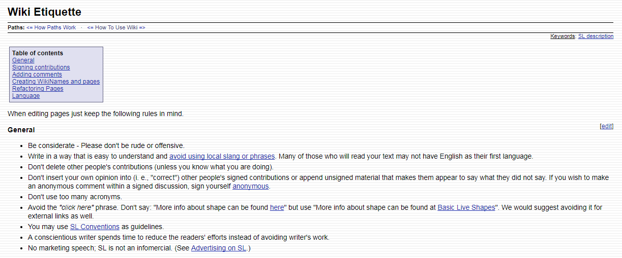 An example of wiki etiquette rules.