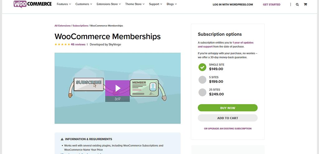 WordPress Membership Plugins: WooCommerce Memberships