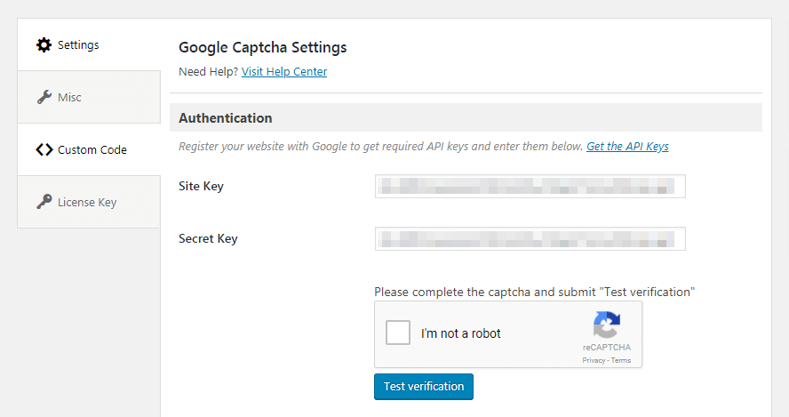 The Google Captcha plugin testing option.