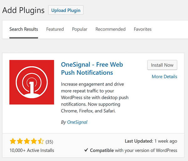 The install option for the OneSignal plugin.
