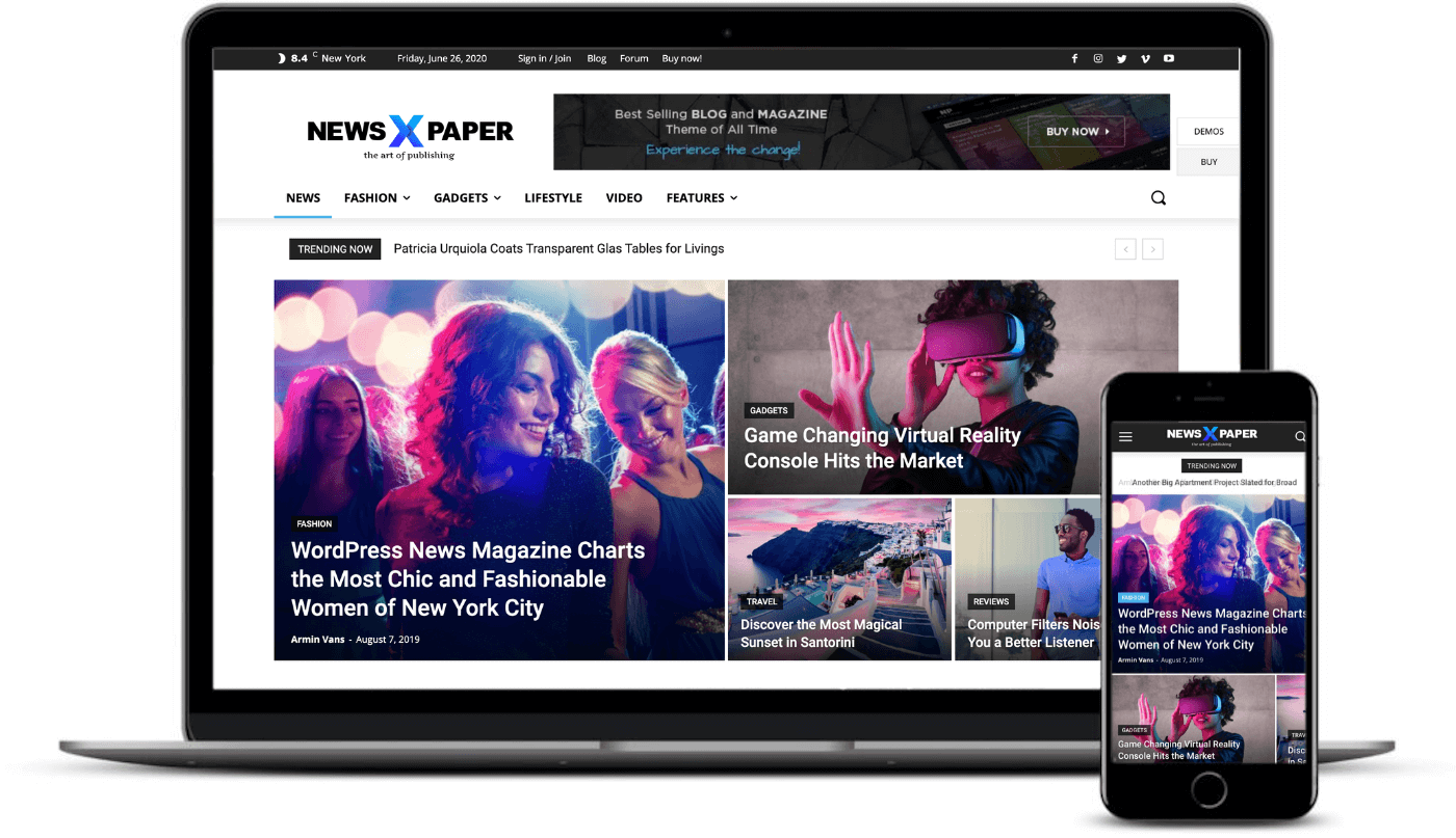 Newspaper's appearance on desktop and mobile makes it one of the best responsive WordPress themes.