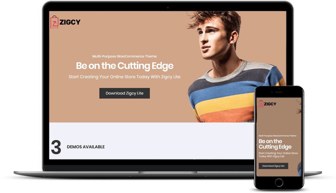 The Zigcy Lite theme on desktop and mobile.