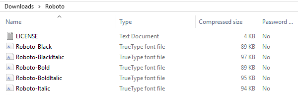 Examples of font files.