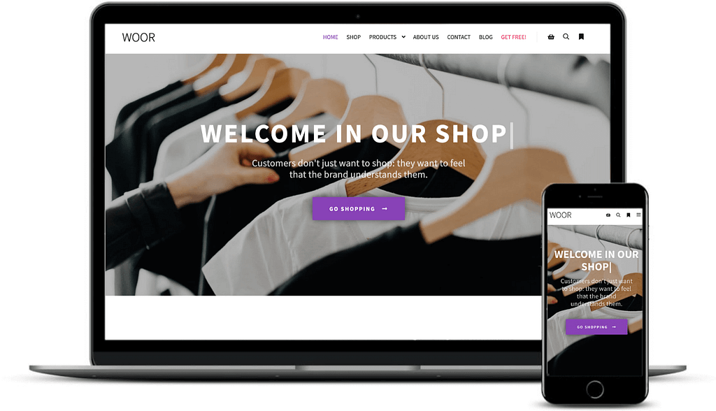 The Rife Free WooCommerce demo on desktop and mobile.