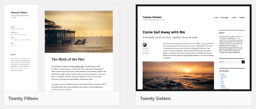 Some of the default WordPress themes.