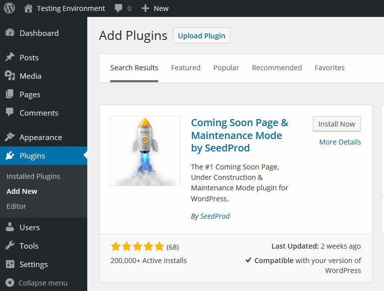 Install Maintenance Mode plugin