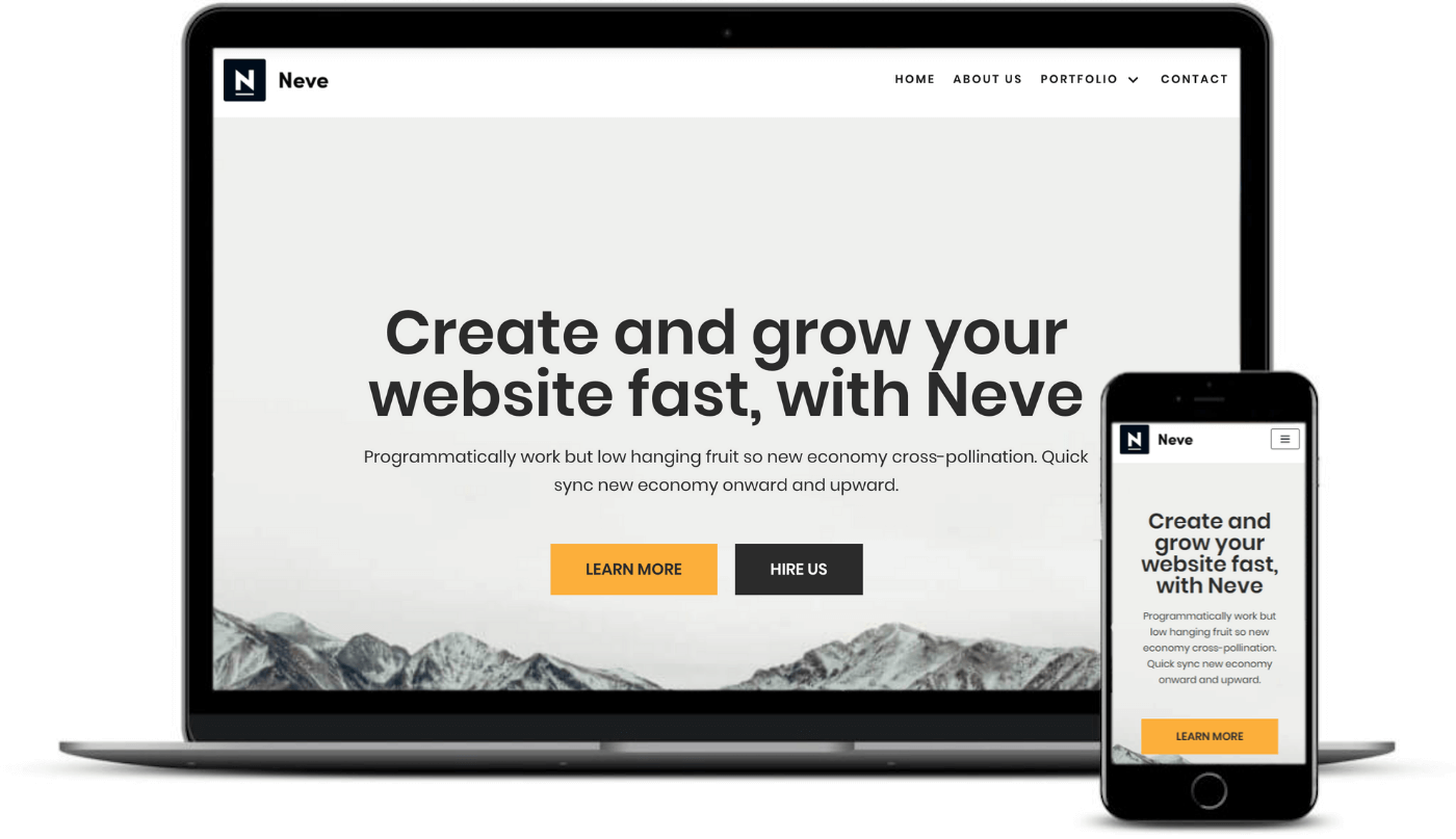 Neve is one of the best responsive WordPress themes seen on desktop and mobile.