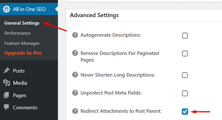 how to redirect attachment pages in all in one seo