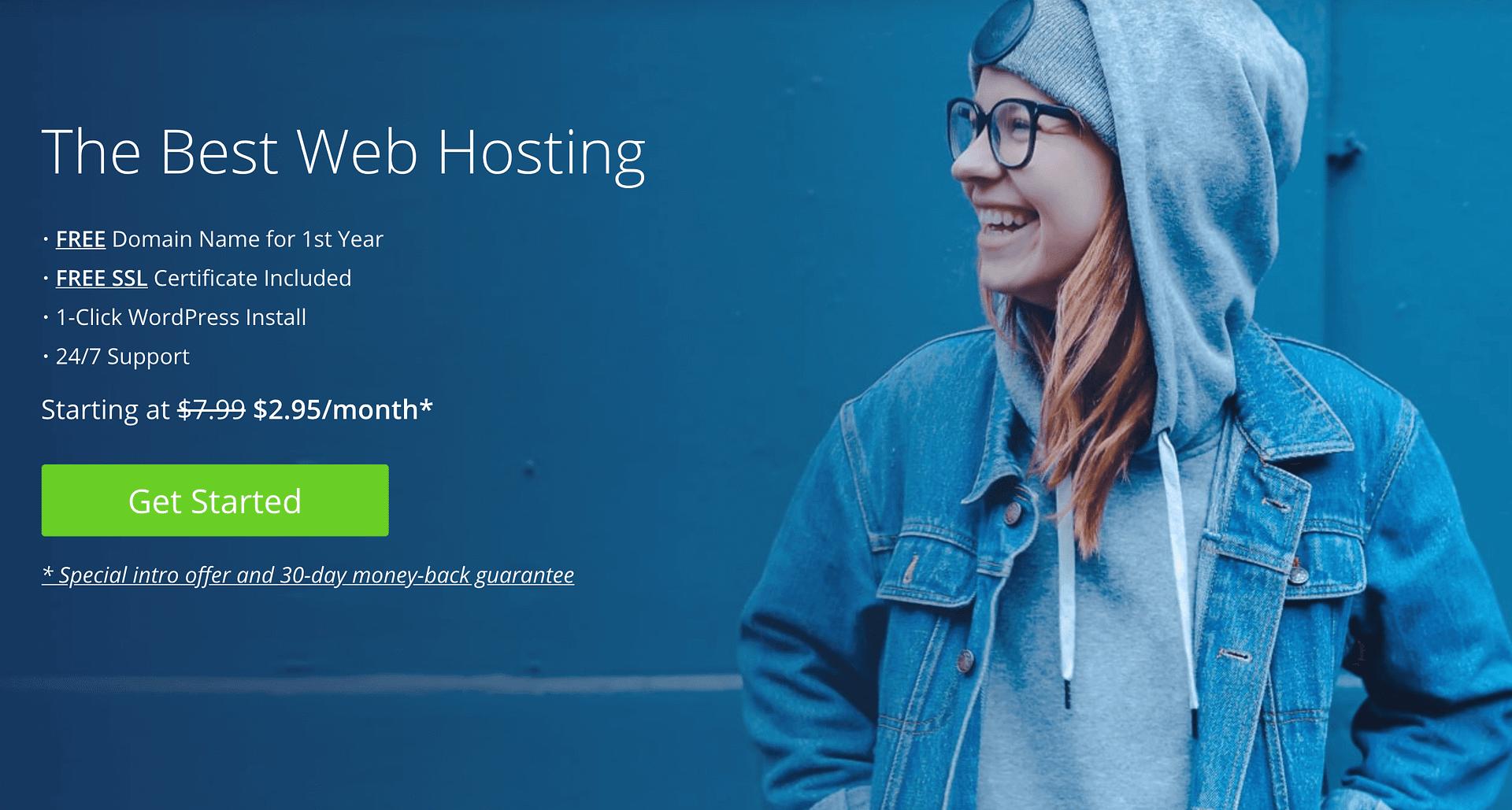 WordPress Hosting for Beginners: Bluehost homepage.
