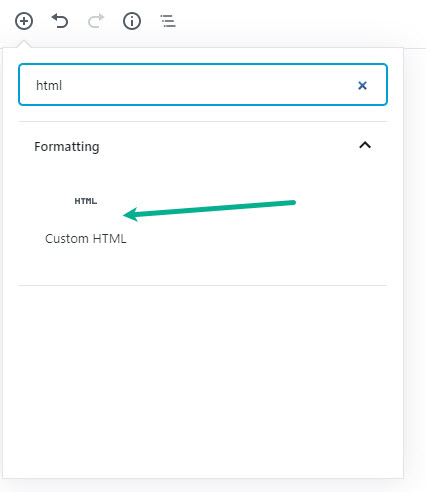 Add a new HTML block to for Google Form embed code
