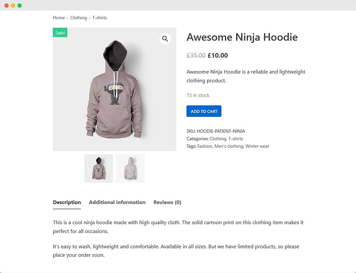 Product page WooCommerce