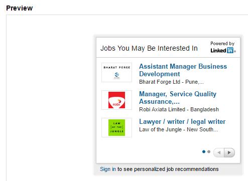 A widget displaying job postings.
