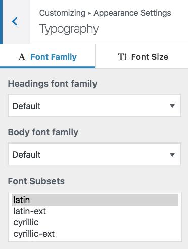 customizer typography