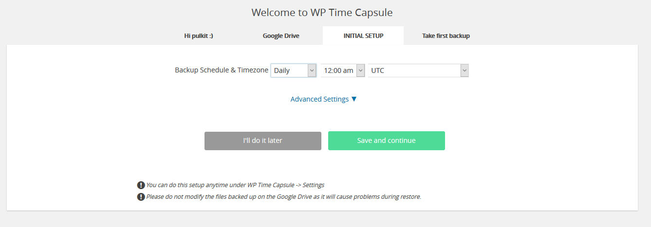 wptimecapsule backup settings