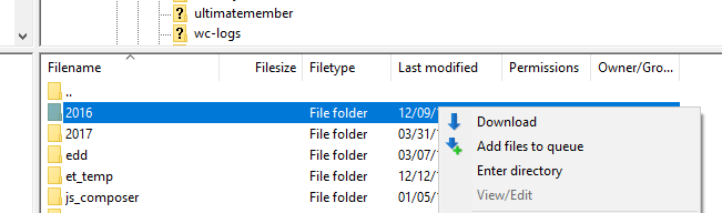 Downloading files via FTP.