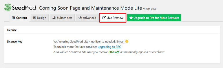Preview Maintenance Mode