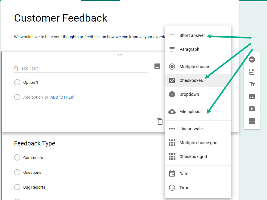 Adding new fields to Google Forms