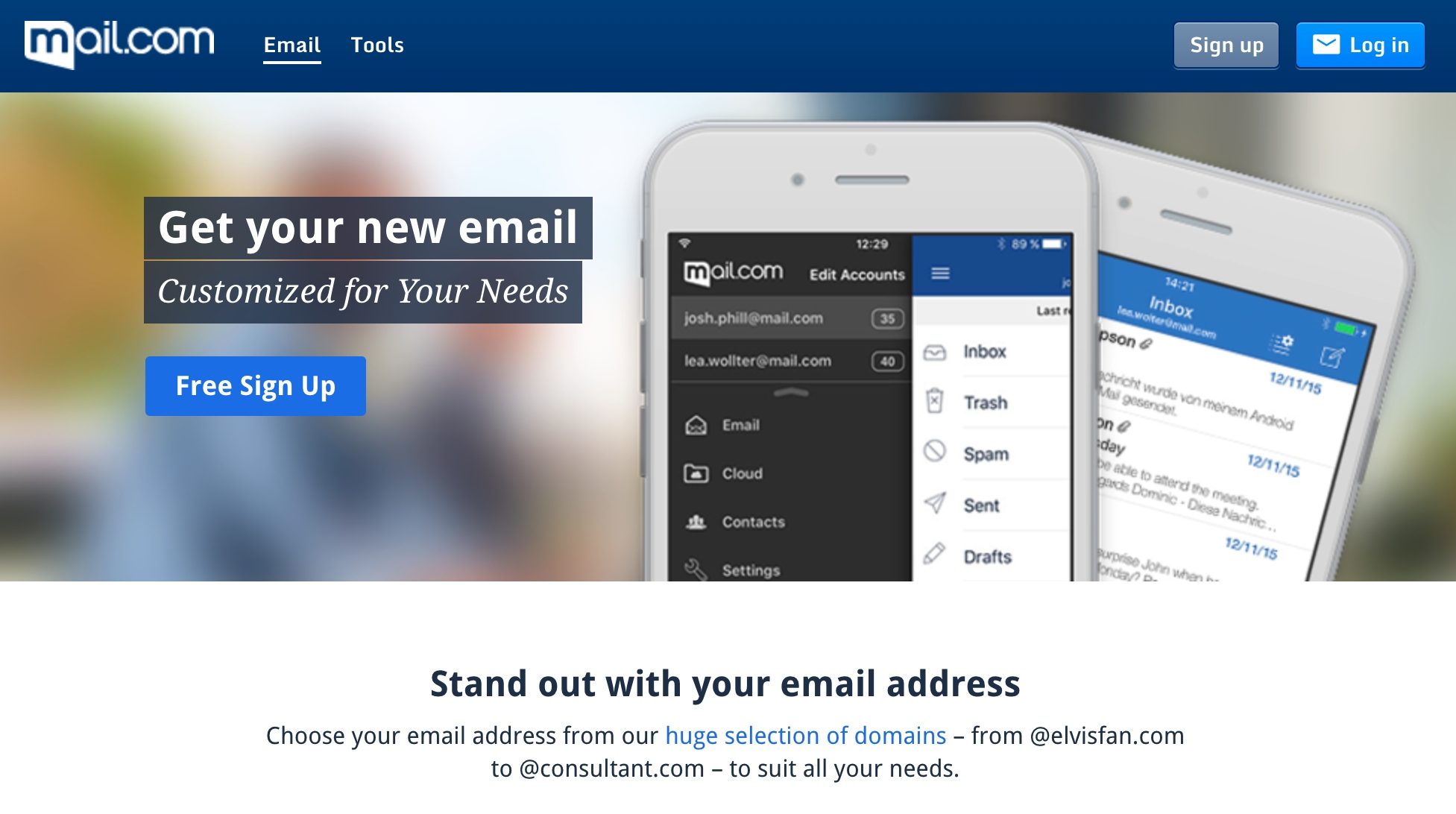 Mail.com is one of the best ways to get a free email domain