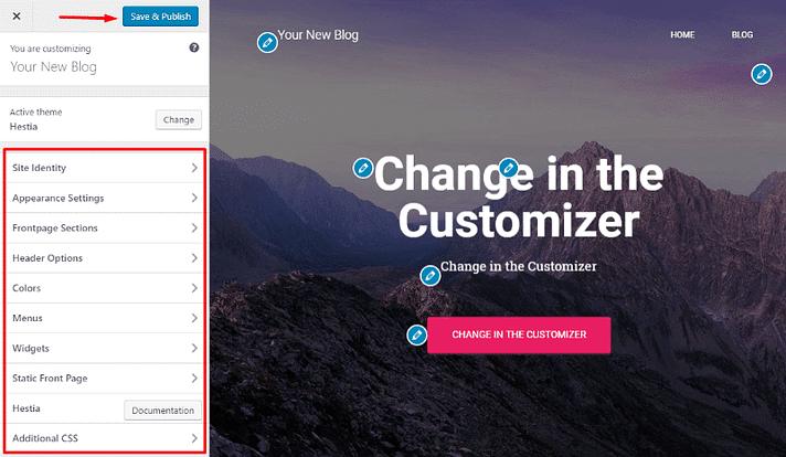 Usando el personalizador de WordPress