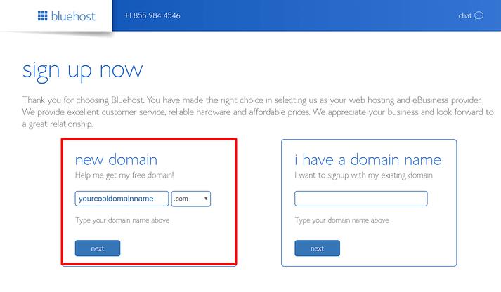 Elija su nombre de dominio gratuito