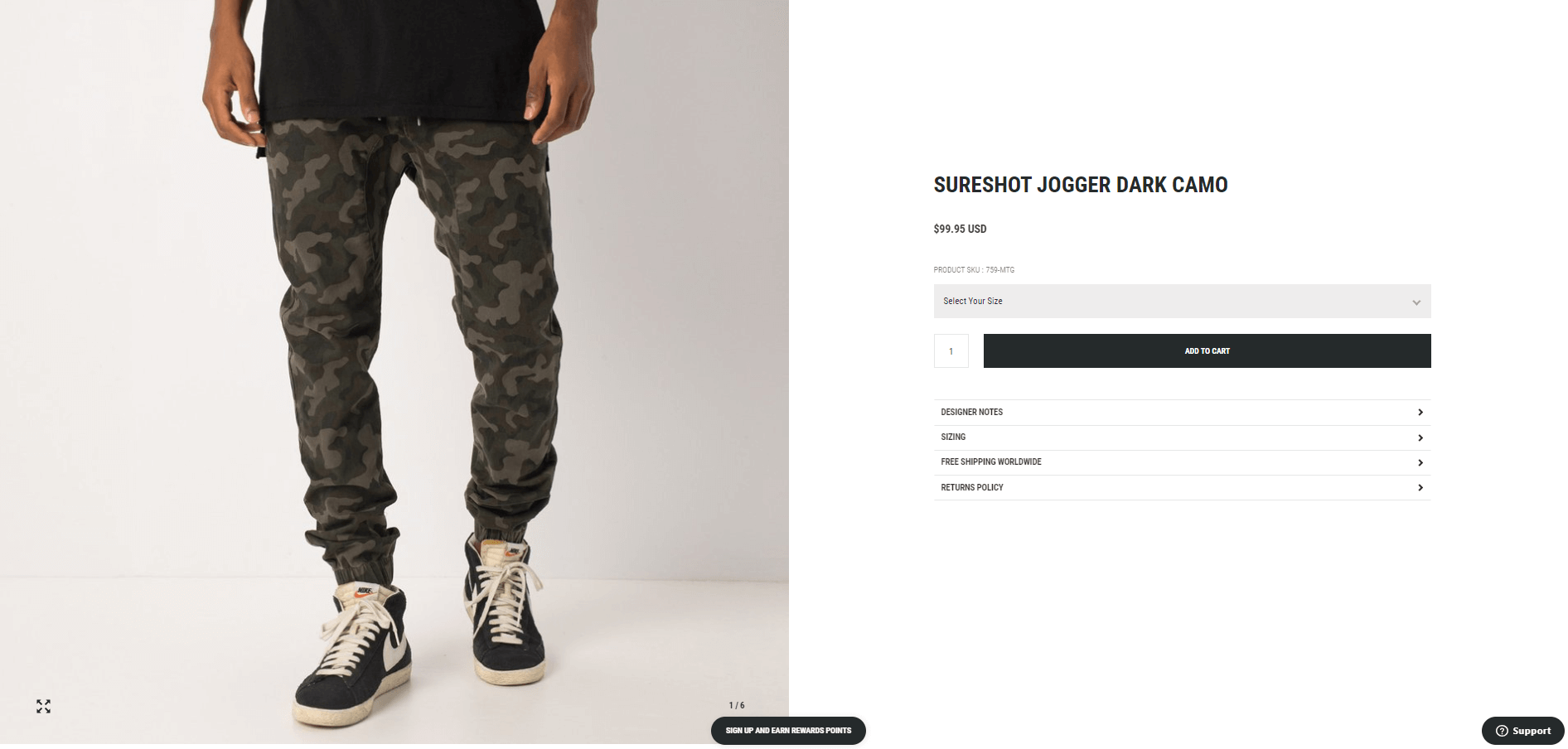 A WooCommerce product with a large featured image.