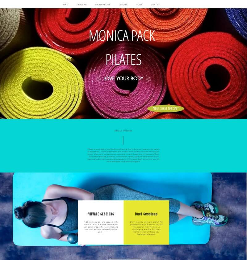 Wix website examples: Monica Pack Pilates