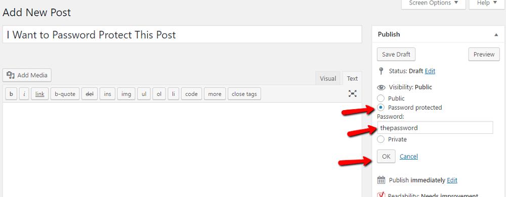 WordPress built-in password functionality