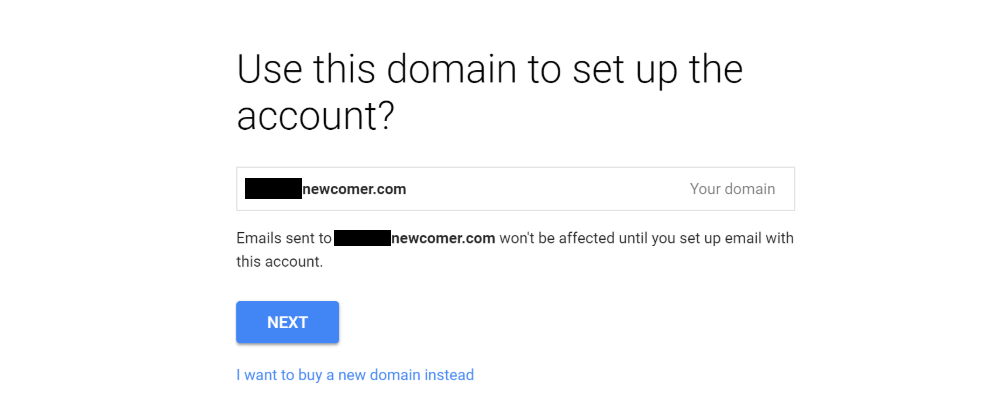Gmail with your own custom domain name: Confirm domain name