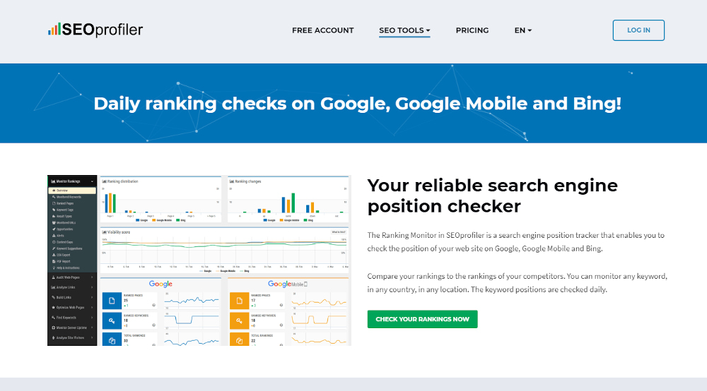 SEOprofiler for checking Google keyword renkings