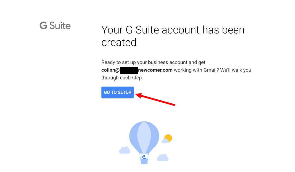 Gmail with your own custom domain name: Go to G Suite setup
