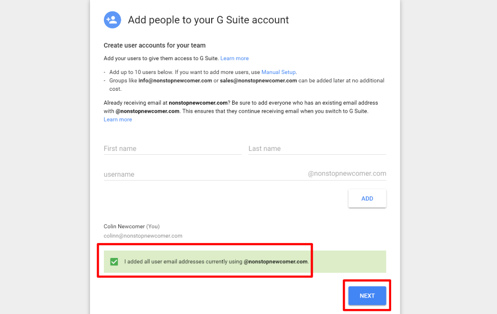 Add new Google Workspace (G Suite) users