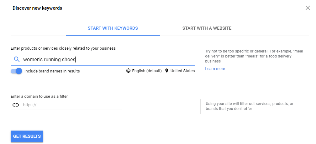 Discovering new keywords with Keyword Planner.