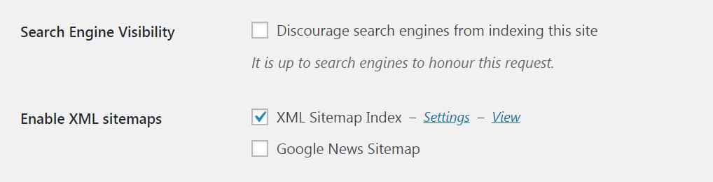 La opción de mapa del sitio en XML Sitemap y Google News Feeds.